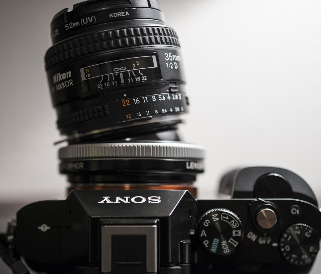 Nikon 35mm f/2 lens attached to a Sony α7R using a Lensbaby Tilt Transformer. Photo taken with a Nikon D800 and 45mm PC-E lens. © 2014 Samuel Morse